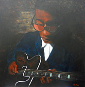 Jazz Painting Originals - Jazz Guitar by Robert Roy