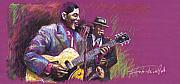 Celebrities Pastels Posters - Jazz Guitarist Duet Poster by Yuriy  Shevchuk