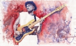 Watercolour  Of Jazz Stars Paintings - Jazz Guitarist Marcus Miller Red by Yuriy  Shevchuk