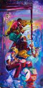 Trombone Paintings - Jazz in The Glow by Saundra Bolen Samuel
