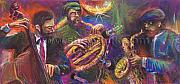 Musician Paintings - Jazz Jazzband Trio by Yuriy  Shevchuk
