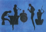 Blues Pastels Posters - Jazz Poster by Kate Hopson