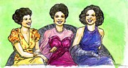 Big Bands Drawings - Jazz Ladies by Mel Thompson