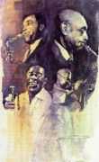 Jazz Paintings - Jazz Legends Parker Gillespie Armstrong  by Yuriy  Shevchuk