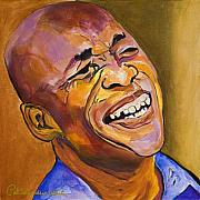 Black Man Painting Prints - Jazz Man Print by Pat Saunders-White