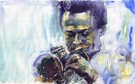 Portret Paintings - Jazz Miles Davis 10 by Yuriy  Shevchuk