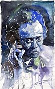 Miles Framed Prints - Jazz Miles Davis 11 blue Framed Print by Yuriy  Shevchuk