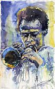 Music Metal Prints - Jazz Miles Davis 12 Metal Print by Yuriy  Shevchuk