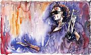 Music Metal Prints - Jazz Miles Davis 14 Metal Print by Yuriy  Shevchuk