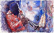 Music Painting Framed Prints - Jazz Miles Davis 15 Framed Print by Yuriy  Shevchuk