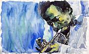 Featured Painting Prints - Jazz Miles Davis 5 Print by Yuriy  Shevchuk