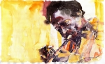 Watercolor Painting Prints - Jazz Miles Davis 6 Print by Yuriy  Shevchuk