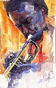 Jazz Paintings - Jazz Miles Davis 9 Red by Yuriy  Shevchuk