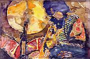 Watercolor  Paintings - Jazz Miles Davis ELECTRIC 2 by Yuriy  Shevchuk