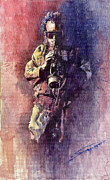 Watercolor  Paintings - Jazz Miles Davis Maditation by Yuriy  Shevchuk