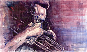 Paper Paintings - Jazz Miles Davis Meditation  by Yuriy  Shevchuk