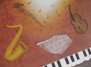 Abstract Music Painting Originals - Jazz music by Georgeta  Blanaru