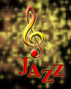 Rock N Roll Digital Art - Jazz Music Poster by Linda Seacord