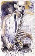 Instrument Paintings - Jazz Muza Saxophon by Yuriy  Shevchuk