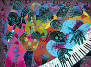 Black Painting Originals - Jazz On Ogontz Ave. by Larry Poncho Brown