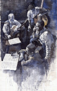 Jazz Paintings - Jazz Parker Tristano Bauer Safransky RCA studio NY 1949 by Yuriy  Shevchuk