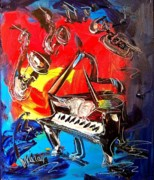 Wild Birds Digital Art Originals - Jazz Piano by Mark Kazav