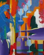 Wine Glasses Paintings - Jazz Player at POC by Linda  Smith