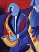 Abstract Music Framed Prints - Jazz Player Framed Print by Mike Lawrence