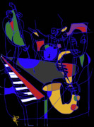 Bass Digital Art Prints - Jazz Quartet Print by Russell Pierce