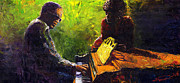 Musician Paintings - Jazz Ray Duet by Yuriy  Shevchuk