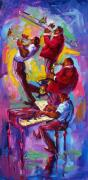 Balconies Paintings - Jazz Rising New Orleans by Saundra Bolen Samuel