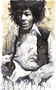 Star Metal Prints - Jazz Rock Jimi Hendrix 04 Metal Print by Yuriy  Shevchuk