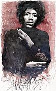 Legend  Paintings - Jazz Rock Jimi Hendrix 05 by Yuriy  Shevchuk