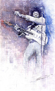 Watercolor Paintings - Jazz Rock Jimi Hendrix 07 by Yuriy  Shevchuk