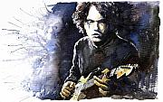 Watercolour Painting Metal Prints - Jazz Rock John Mayer 03  Metal Print by Yuriy  Shevchuk
