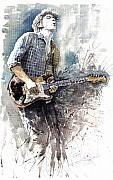 Rock Painting Posters - Jazz Rock John Mayer 05  Poster by Yuriy  Shevchuk