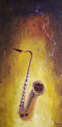 Canvas Wine Prints Posters - Jazz Sax Poster by Bill Werle