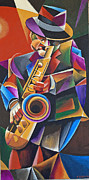 Live Music Painting Posters - Jazz Sax Poster by Bob Gregory