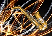Large Digital Art Metal Prints - Jazz Saxaphone  Metal Print by Louis Ferreira