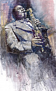 Watercolor Framed Prints - Jazz Saxophonist Charlie Parker Framed Print by Yuriy  Shevchuk