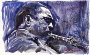 Watercolor  Paintings - Jazz Saxophonist John Coltrane 01 by Yuriy  Shevchuk