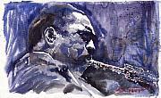 Jazz Saxophonist John Coltrane 01 Print by Yuriy  Shevchuk