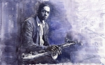Figurative Paintings - Jazz Saxophonist John Coltrane 03 by Yuriy  Shevchuk