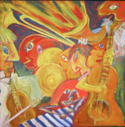 Jazz Painting Originals - Jazz Sesion 1 by Manuel Martin