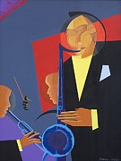 Black Blues Prints - Jazz Sharp Print by Kaaria Mucherera
