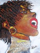 Gold Earrings Painting Metal Prints - Jazz Singer Jade Metal Print by Samuel Banks