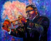 Black Man Tapestries - Textiles Prints - Jazz Solo Print by Linda Marcille
