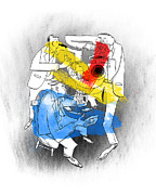 Red Yellow Blue Prints - Jazz Trio Print by Sean Hagan