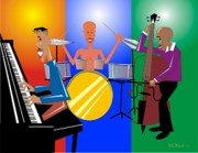 Bass Digital Art Prints - Jazz Trio Print by Walter Neal