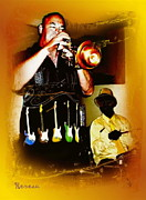 Trumpets Art - Jazz Trumpet and Drums by Sadie Reneau